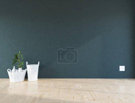 Photo pour Idée de chambre scandinave vide intérieur avec des plantes sur le sol en bois. Intérieur nordique. Illustration 3D - image libre de droit