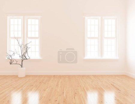 Photo pour Idée de chambre scandinave vide intérieur avec vase sur sol en bois. Intérieur nordique. Illustration 3D - image libre de droit