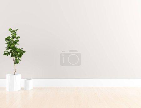 Photo pour Idée de chambre scandinave vide intérieur avec plante sur le sol en bois. Intérieur nordique. Illustration 3D - Illustration - image libre de droit