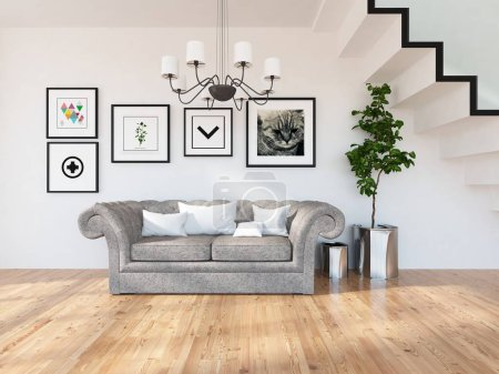 Photo for Idea of  scandinavian living room interior with sofa ,plant and wooden floor  . Home nordic interior. 3D illustration - Royalty Free Image
