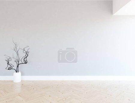 Foto de Idea del interior de la habitación vacía escandinavo con un jarrón sobre piso de madera. Casa interior nórdico. Ilustración 3D - Imagen libre de derechos