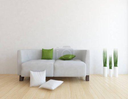 Photo pour Idée d'intérieur scandinave salle de séjour avec canapé, plantes et plancher en bois. Intérieur de la maison nordique. illustration 3D - image libre de droit