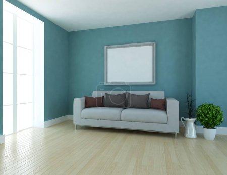 Foto de Idea interior escandinavo living comedor con sofá, plantas y suelos de madera. Casa interior nórdico. Ilustración 3D - Imagen libre de derechos