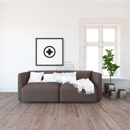 Photo pour Idée d'intérieur scandinave salle de séjour avec canapé, plante et plancher en bois. Intérieur de la maison nordique. illustration 3D - image libre de droit
