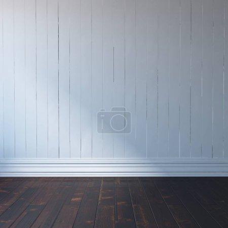 Photo pour Idée d'une chambre scandinave vide intérieur avec sol en bois. Intérieur nordique. Illustration 3D - Illustration - image libre de droit