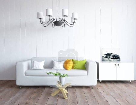 Photo pour Idée d'un salon scandinave intérieur avec canapé et décor sur le sol en bois. Intérieur nordique. Illustration 3D - image libre de droit