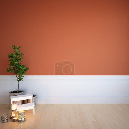 Photo for Idea of  empty scandinavian room interior with plants on wooden floor and decor. Home nordic interior. 3D illustration - Royalty Free Image
