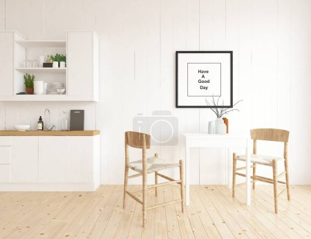 Foto de Idea interior escandinavo sala cocina con mesa y sillas. Casa interior nórdico. Ilustración 3D - ilustración - Imagen libre de derechos