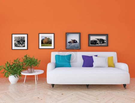 Photo for Idea of  scandinavian living room interior with sofa on the wooden floor and decor. Home nordic interior. 3D illustration - Royalty Free Image