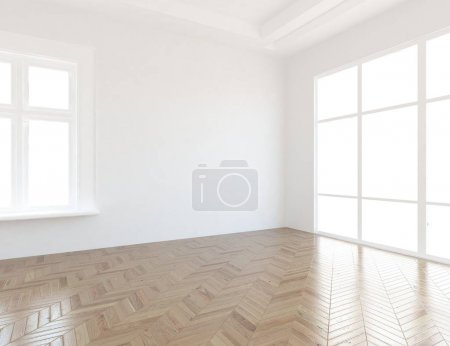 Photo for Idea of a  empty scandinavian room interior with wooden floor . Home nordic interior. 3D illustration - Royalty Free Image