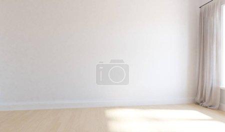 Photo pour Chambre vide minimaliste intérieure avec décor sur un sol en bois, cadres sur un grand mur, paysage blanc dans la fenêtre. Intérieur nordique. Illustration 3D - image libre de droit