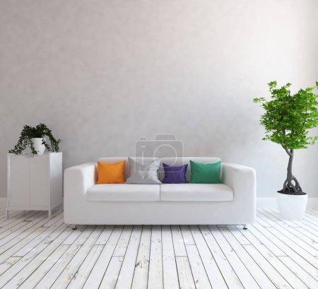 Photo pour Intérieur minimaliste blanc avec mobilier. Intérieur nordique. Illustration 3D - image libre de droit