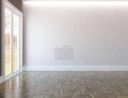Photo for White minimalist room interior. Home nordic interior. 3D illustration - Royalty Free Image