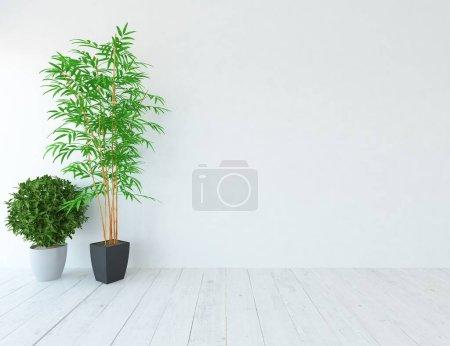 Photo pour Intérieur de chambre minimaliste blanc. Intérieur nordique. Illustration 3D - image libre de droit