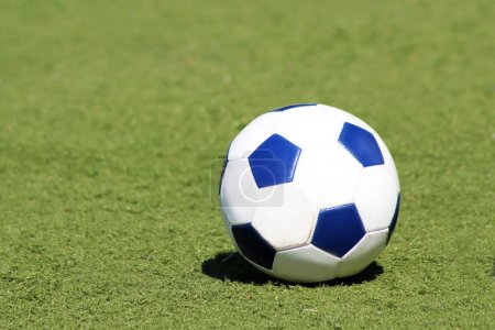 Traditional soccer ball on soccer field, sport