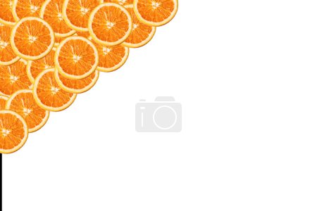Orange on a white background. The round fruit. Oranje product. Ochenky delicious and healthy. Vitamin C. Vegetarianism. Vegan. Orange pulp. Background for the menu of cafes and restaurants. Background for advertising.