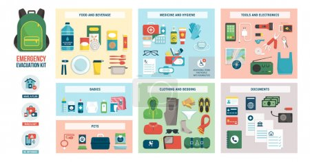 Illustration for Disaster evacuation kit with supplies, food, accessories and clothes: emergency preparedness and safety concept - Royalty Free Image
