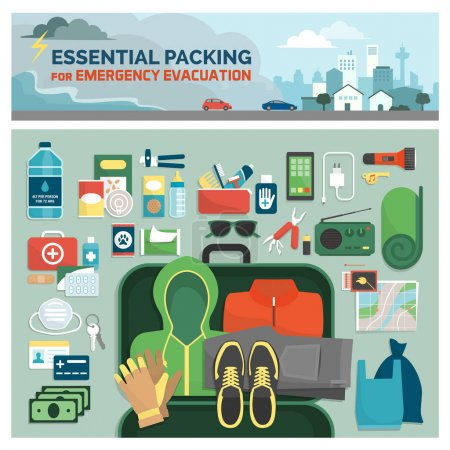 Illustration for Essential packing kit for emergency evacuation, emergency preparedness and safety guide, flat lay objects and tools - Royalty Free Image
