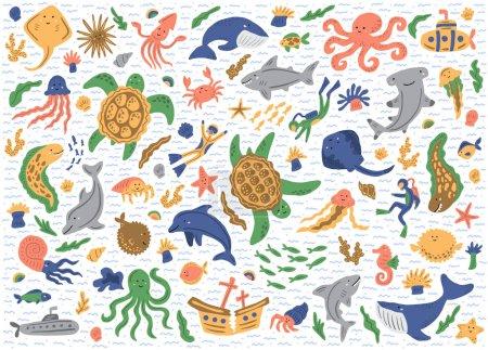 Photo pour Ensemble d'animaux marins. Isolé sur fond blanc. De jolies illustrations enfantines. Modèle d'autocollants vectoriels - image libre de droit