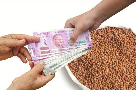 Farmer Selling Crops, Hand Giving Indian 500 and 2...