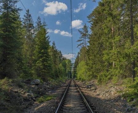 Railway near Lipno dam in south Bohemia in spring sunny morning