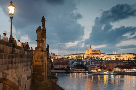 Night view of Prague Castle from the Charles Bridge