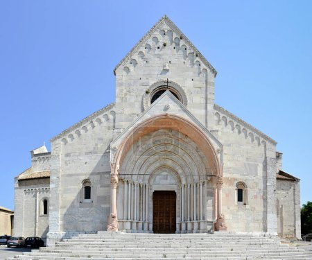 Facade of the Duomo of Ancona - The building is an example of mixed Romanesque Byzantine and Gothic elements.