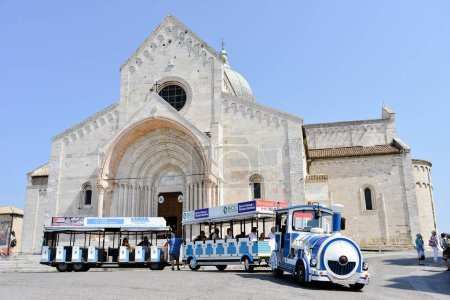 Ancona, Italy - August 23, 2018: Tourist train on the square of Ancona's cathedral