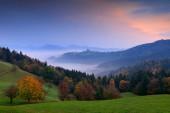 """Постер, картина, фотообои """"Пейзаж в Словении, природа в Европе. Туманный Триглав Альпы с лесом, путешествия в Словении. Прекрасный рассвет с природой голубое небо., зеленый."""""""