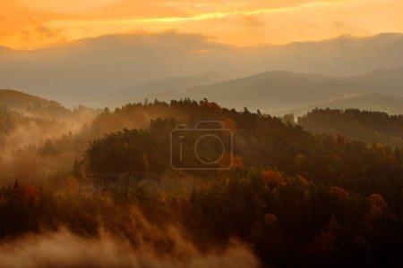 Photo pour Beau paysage brumeux. Matin brumeux froid avec lever du soleil crépusculaire dans une vallée automnale du parc de la Suisse bohème . - image libre de droit