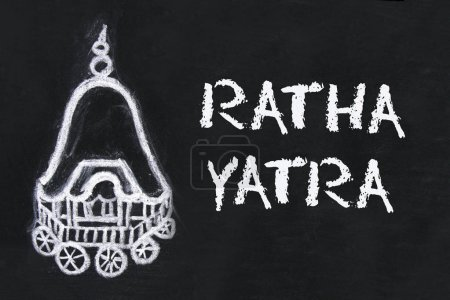 Chalk-drawn chariot and text of Ratha yatra. The return journey of Puri Jagannath Ratha Jatra is known as Bahuda Jatra