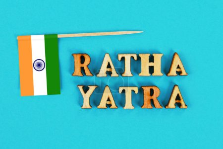 Flag of India and the text of Ratha yatra. The return journey of Puri Jagannath Ratha Jatra is known as Bahuda Jatra
