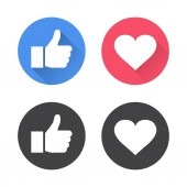 Thumbs up and heart icon in a flat design Vector illustration