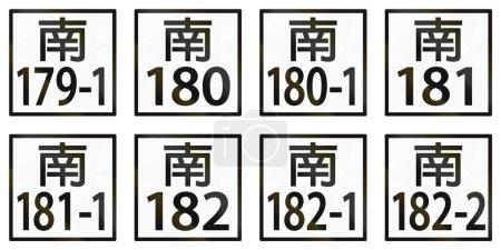 Sammlung lokaler Ortsschilder in Taiwan.