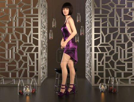 Photo pour Illustration 3D portrait mignon jeunes femmes asiatiques - image libre de droit