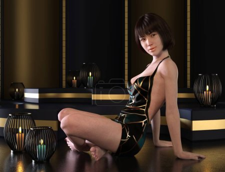Photo for 3D illustration portrait cute young asian women - Royalty Free Image