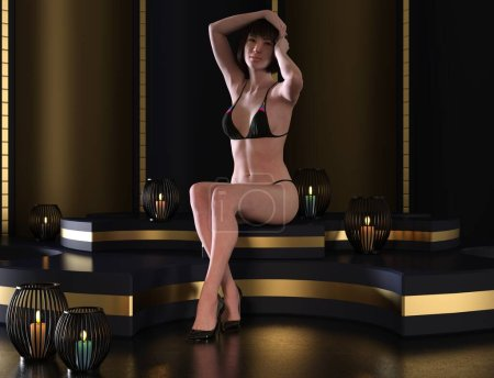 Photo for 3D illustration cute young asian women in a bikini swimsuit - Royalty Free Image