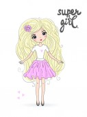 Hand drawn beautiful cute blonde girl with an inscription super girl Vector illustration