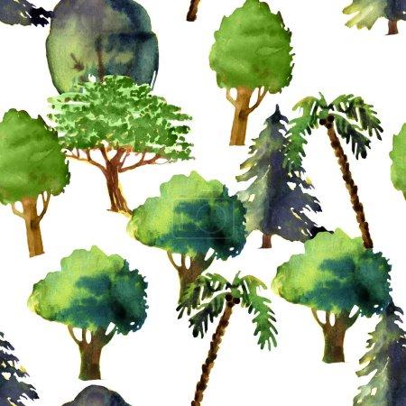 Photo pour Illustration sans couture avec forêt printanière ou estivale isolée sur fond blanc - image libre de droit