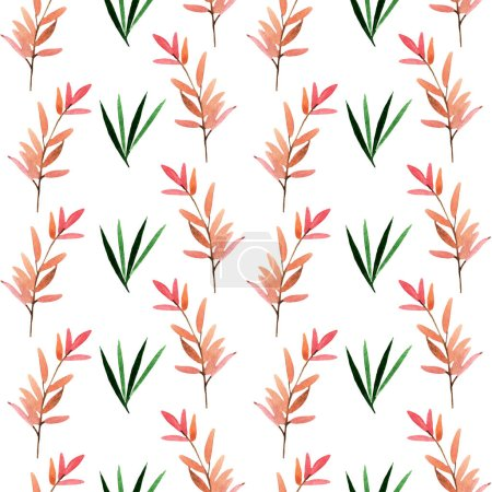 Photo for Seamless pattern illustration with green and rose leaves isolated on white background - Royalty Free Image