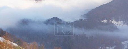 Photo pour Montagnes carpatiennes au brouillard - image libre de droit