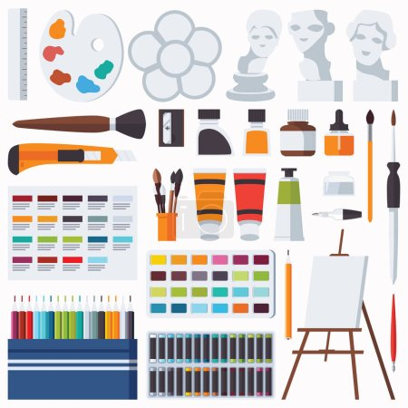 Vector flat set with fine artist stationery. Watercolor, tempera, easel, palette, color pencils, gypsum head and other accessories for art studio and drawing. Collection with artist supplies.