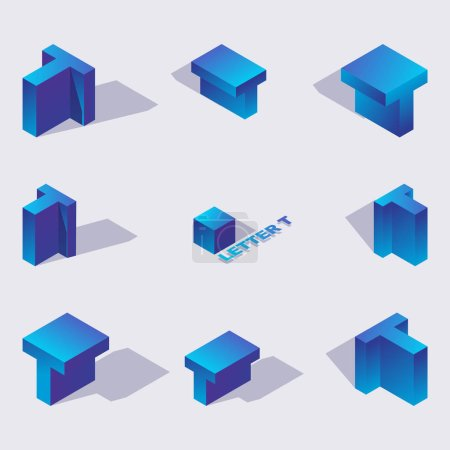 Vector collection with isometric 3d blue letters T or Te of cyrillic script in various foreshortening. 3d alphabet elements drawn with vivid gradients.