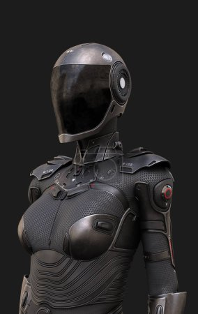 Photo for Female Cyborg Suit 3d illustration poses on the background - Royalty Free Image