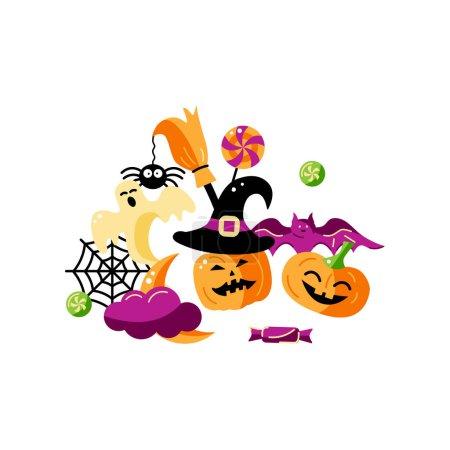 Happy Halloween card. Flat style vector illustrati...
