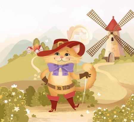 Photo pour Bitmap, illustration, fond, chat, chat dans les bottes, moulin, maisons, village, été, nature, personnage, héros de conte de fées - image libre de droit