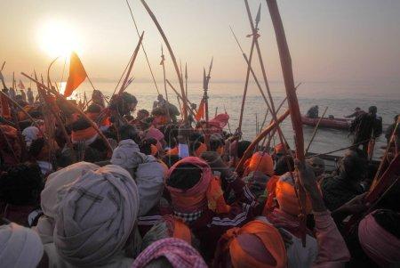 Photo for Crowd at Kumbh Mela festival, the world's largest religious gathering, in Allahabad, Uttar Pradesh, India. - Royalty Free Image