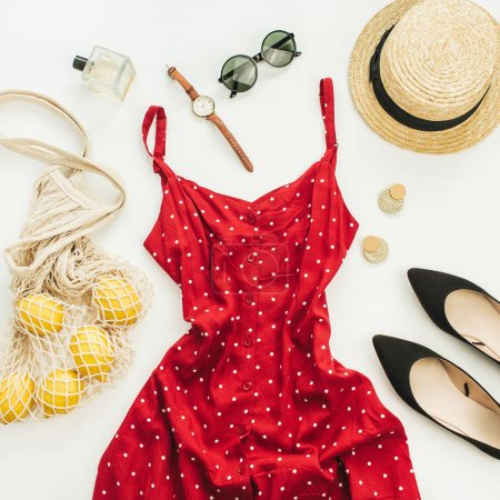 Summer female fashion composition. Flat lay, top view clothes and accessories background.