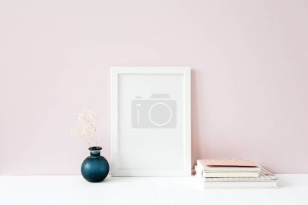 Photo for Photo frame with blank copy space. Front view mockup template. Social media, blog, website background. - Royalty Free Image