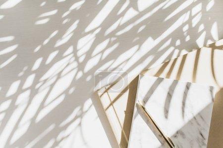 Photo pour Bureau à domicile fond d'espace de travail avec ordinateur portable sur fond blanc avec ombre végétale. Flat lay, vue du dessus minimaliste élégant dame patron concept de style de vie d'affaires . - image libre de droit